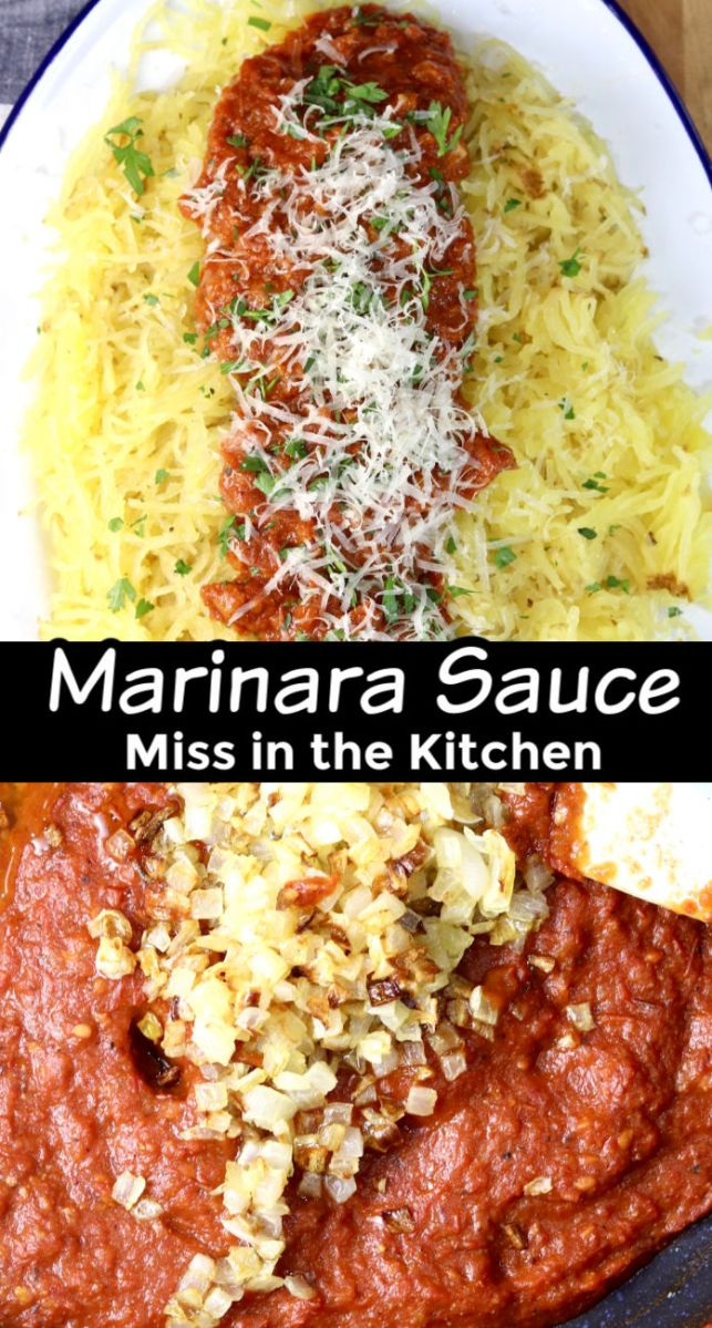 "Marinara Spaghetti Squash collage with tomato sauce with onions photo - text overlay ""Marinara Sauce"""