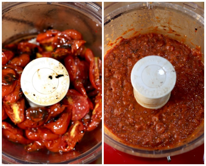 Collage of tomatoes in a food processor, roasted and then processed
