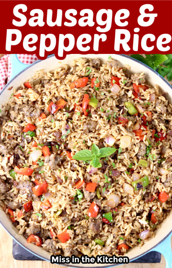 Sausage and Pepper Rice - with text overlay