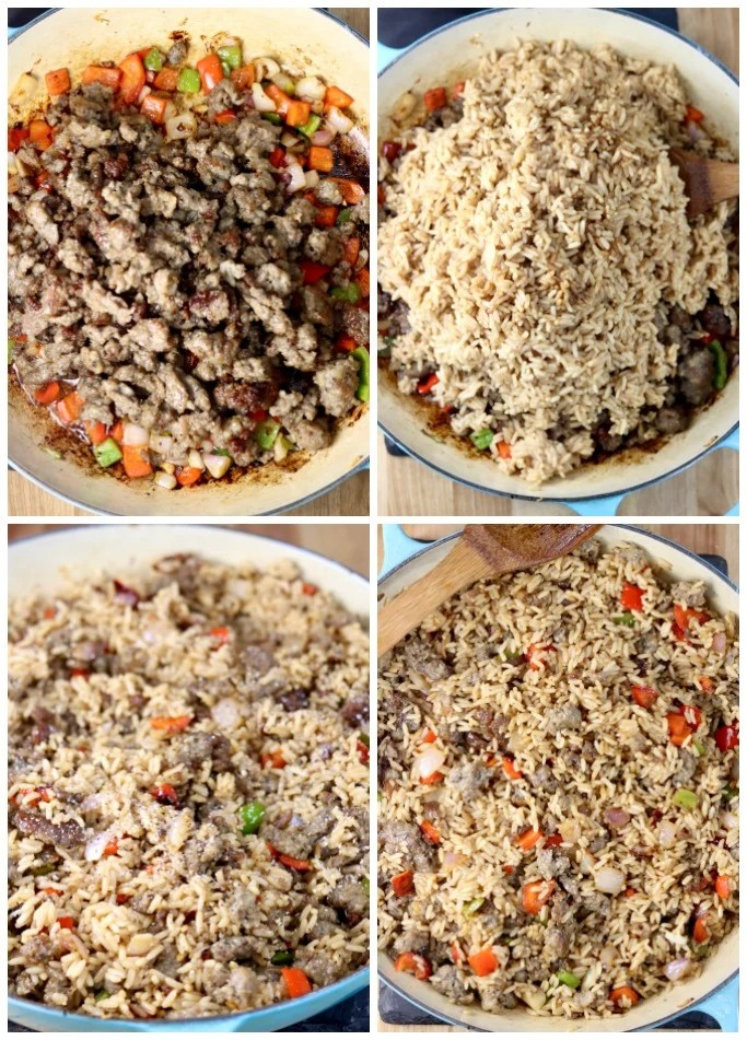 Making Sausage Pepper Rice, cooking sausage, adding