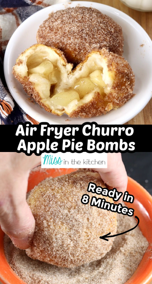 Air Fryer Churro Apple Pie Bombs with text overlay of collage