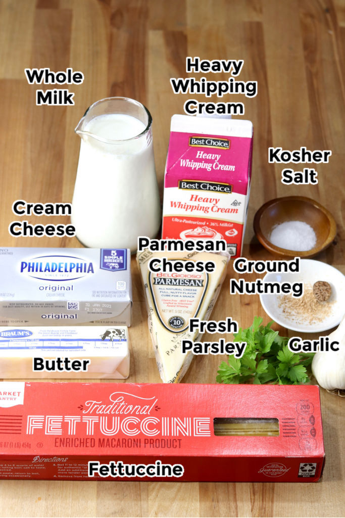Ingredients for Creamy Fettuccine Alfredo