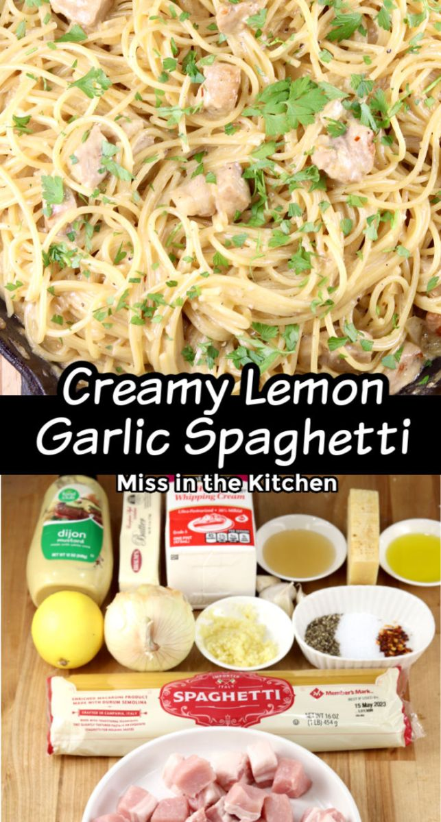 Creamy Lemon Spaghetti collage with ingredients photo