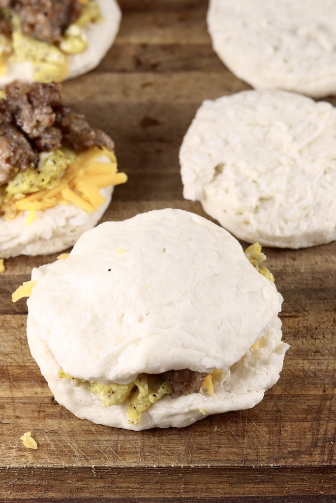 can biscuits with sausage, egg and cheese filling