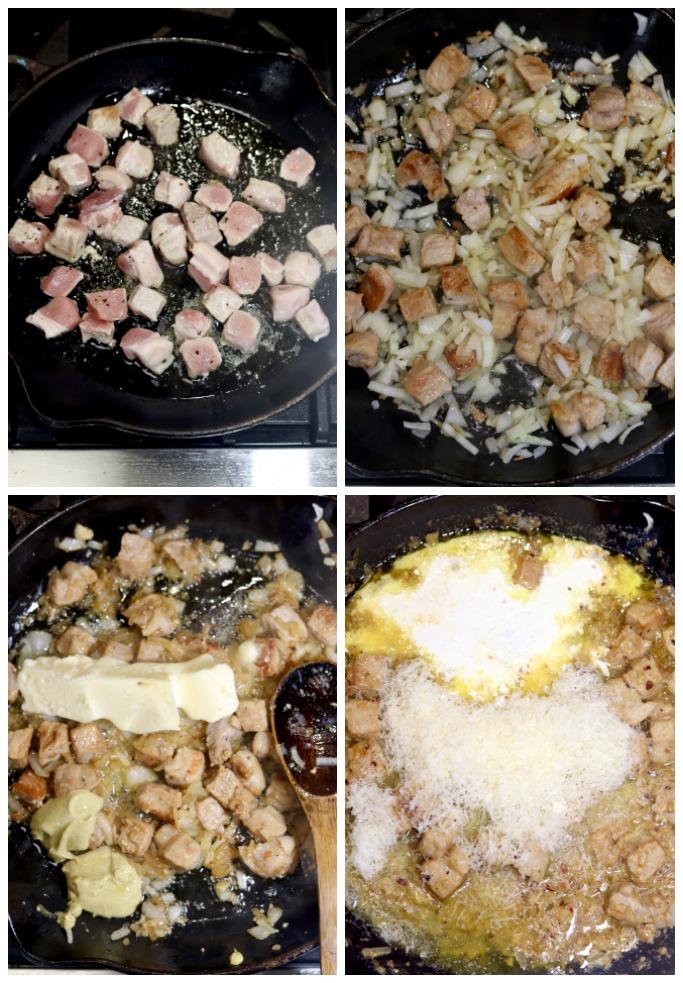 Collage making lemon garlic spaghetti
