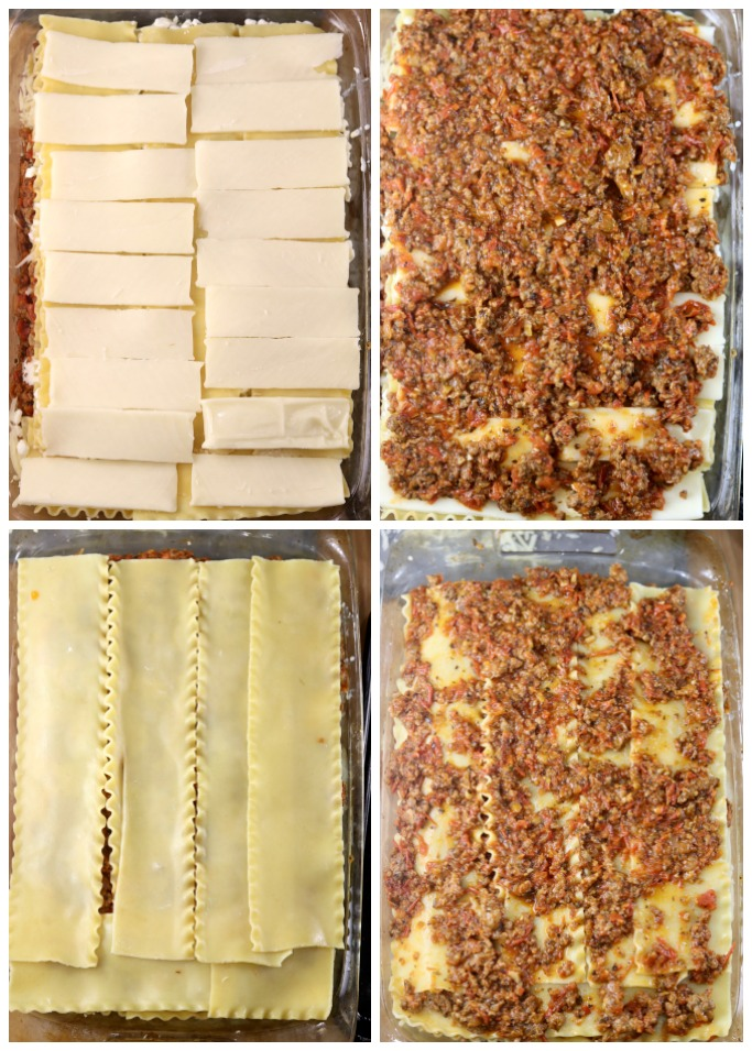 collage sliced cheese, meat sauce, pasta, meat sauce for lasagna