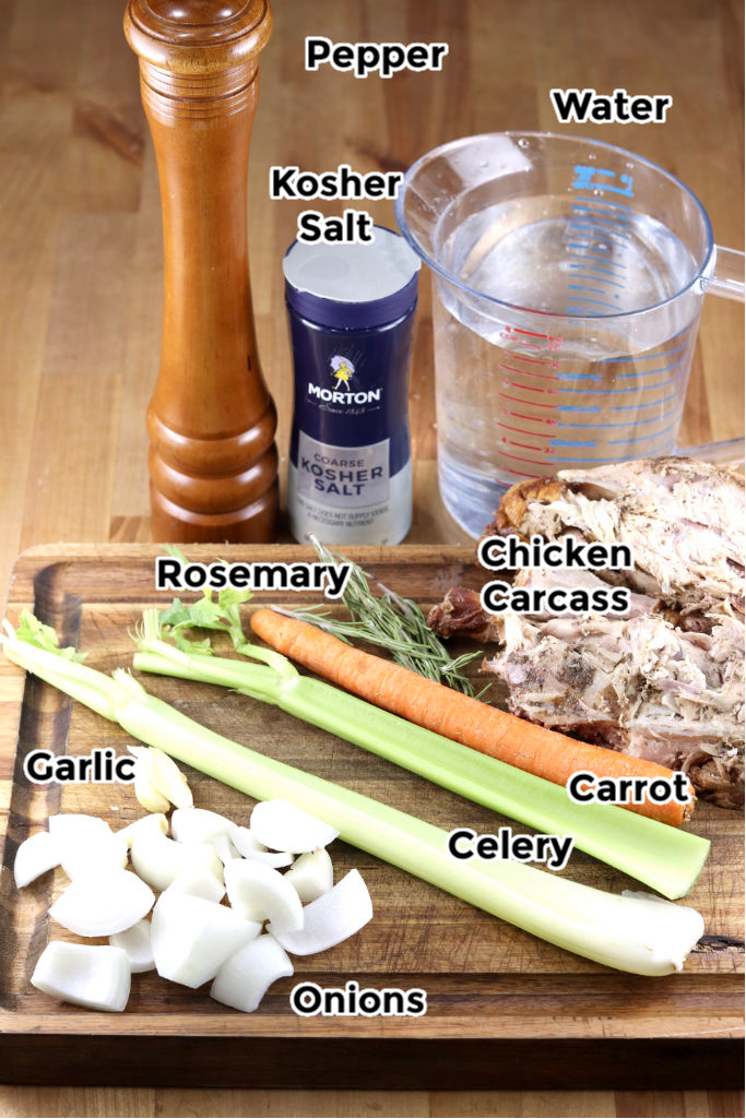 Ingredients for chicken broth with text labels