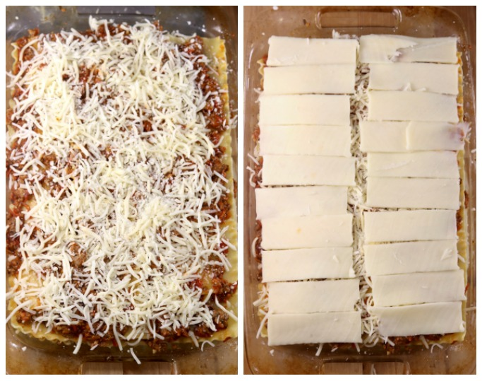 Collage of lasagna casserole, shredded cheese, sliced mozzarella