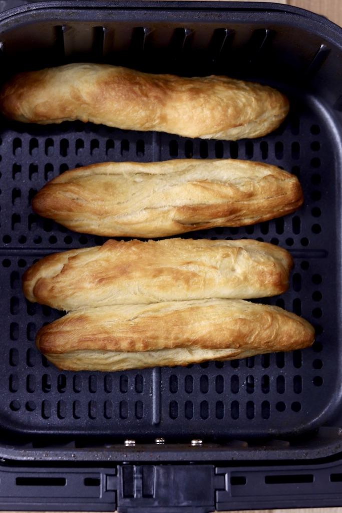 Breadsticks cooked in air fryer basket