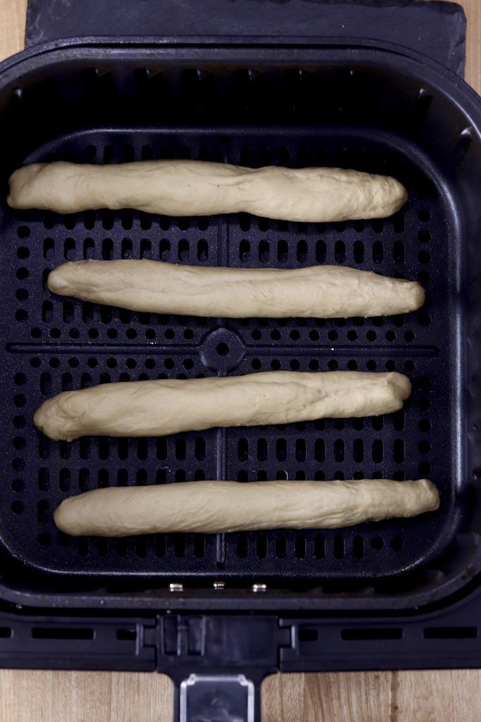 breadstick dough in air fryer basket