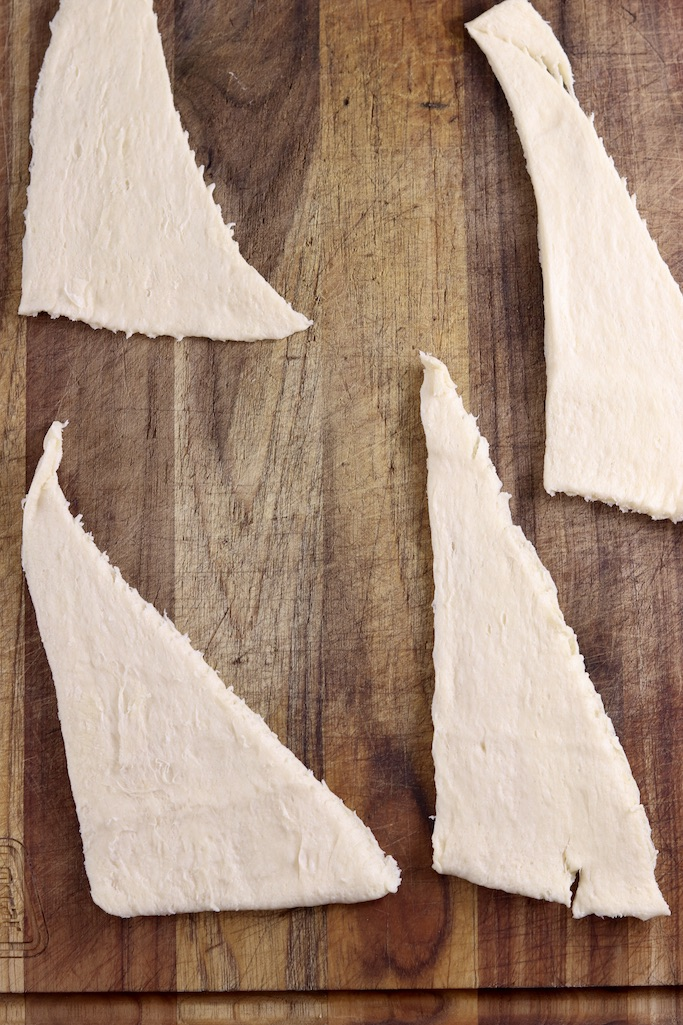 Crescent Dough triangles on a cutting board