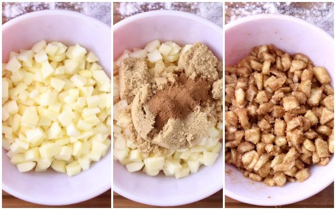 Collage - diced apples, topped with brown sugar and cinnamon, mixed together
