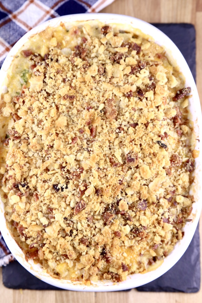 Chicken Broccoli Rice Casserole with bacon ritz topping