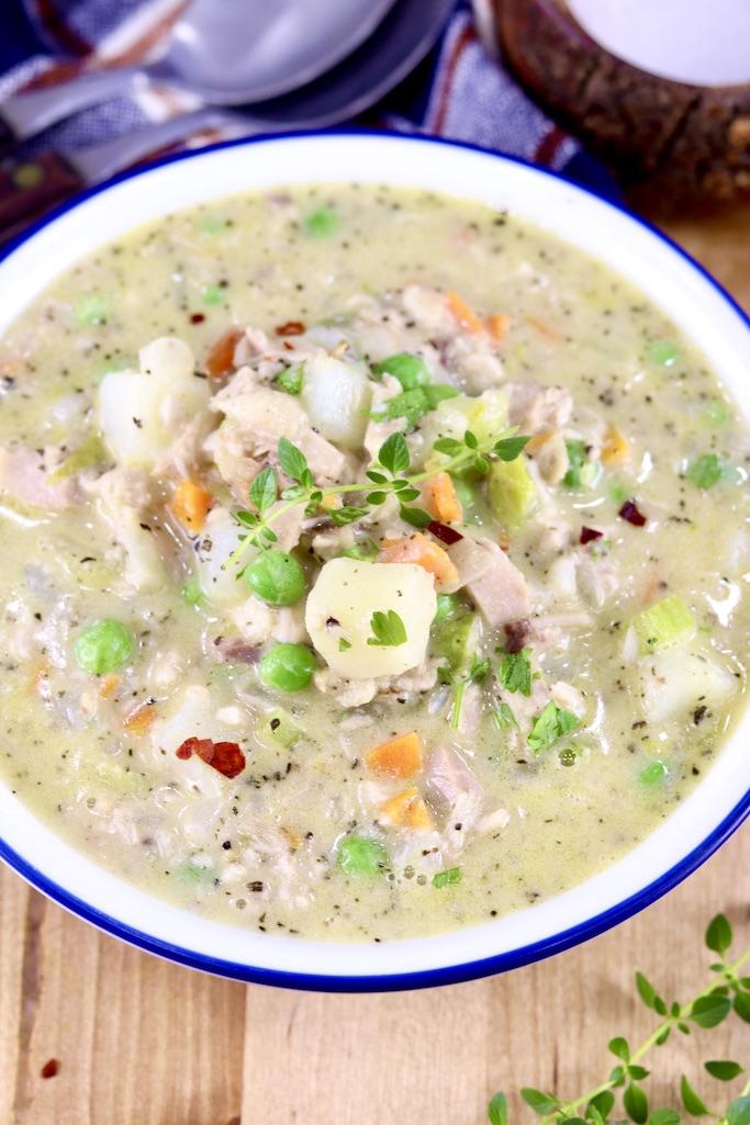 Chicken Pot Pie Soup in a bowl - closeup