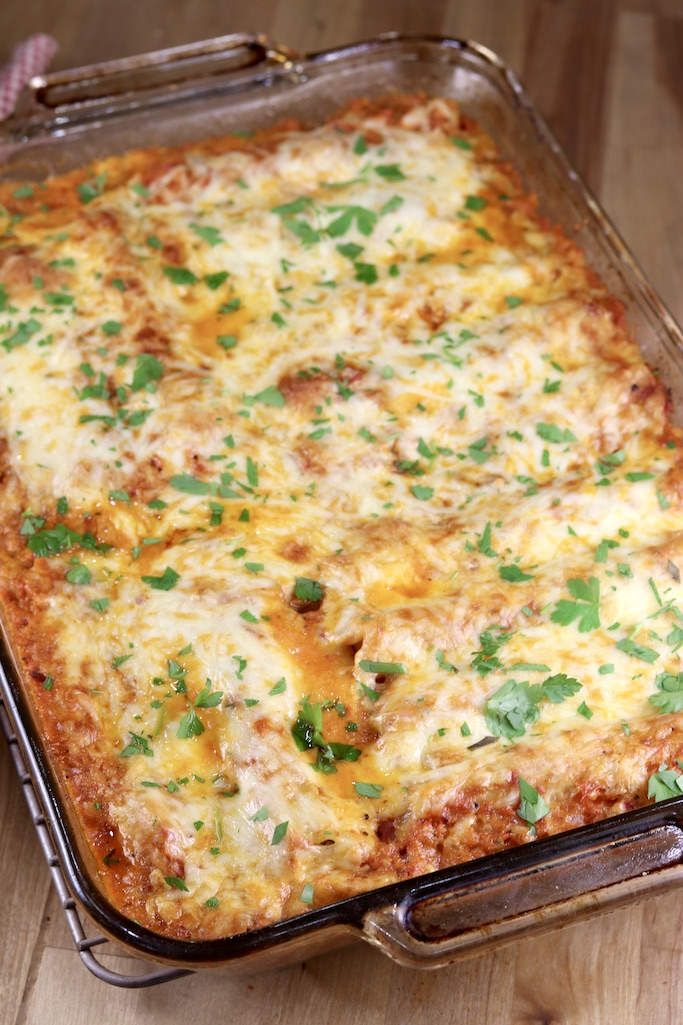 Pan of baked manicotti
