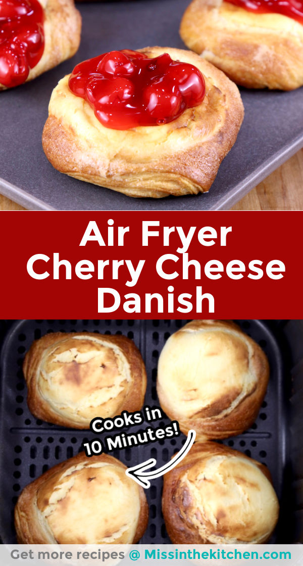 Air Fryer Cherry Cheese Danish collage closeup and in air fryer
