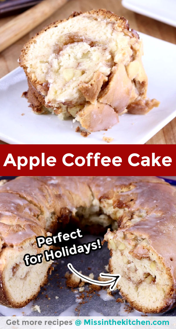 Apple coffee cake collage slice close up and bundt cake on plate