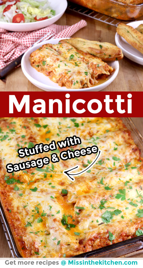 collage of manicotti -plated and in casserole dish, text overlay
