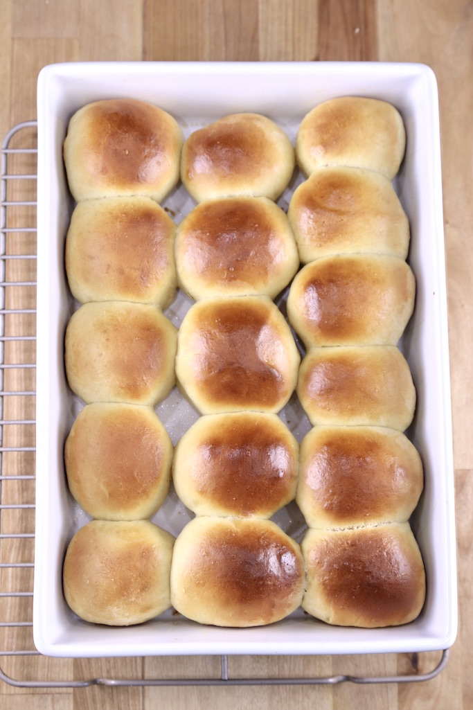Baked Hawaiian Rolls in a white baking pan