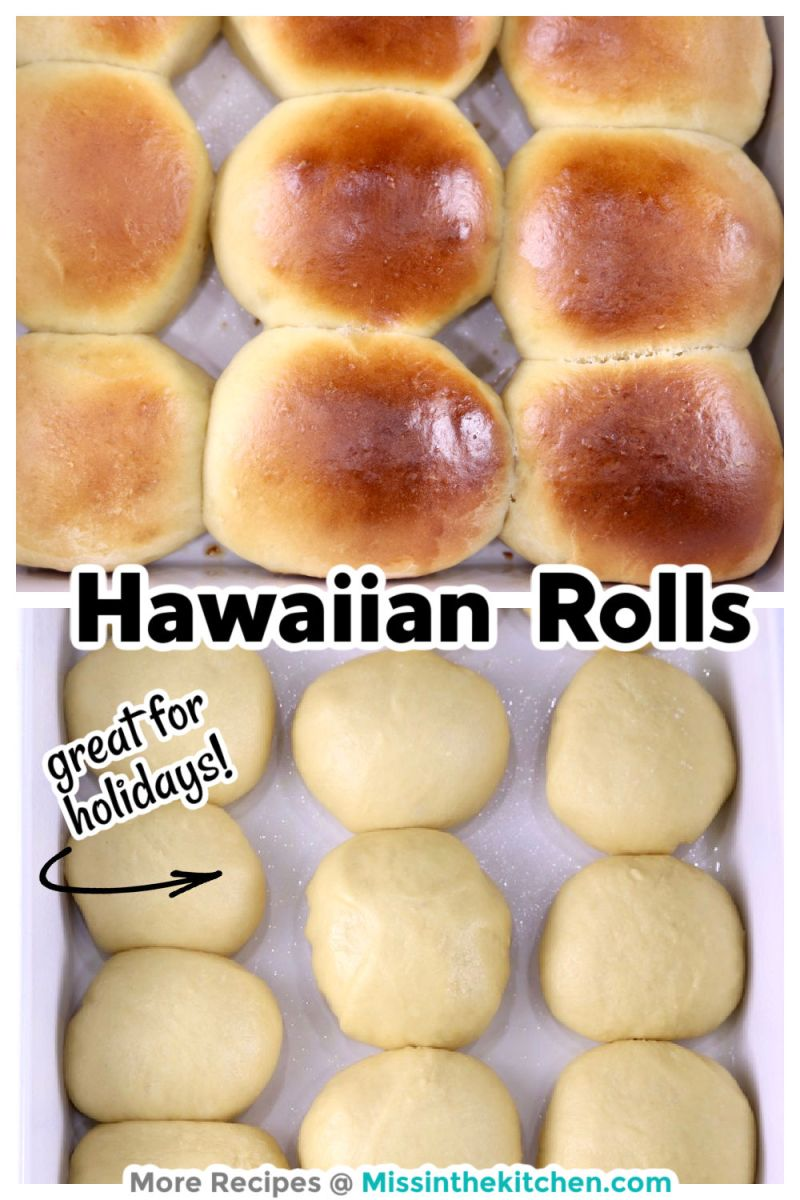Hawaiian Dinner Rolls collage with baked photo over risen dough photo