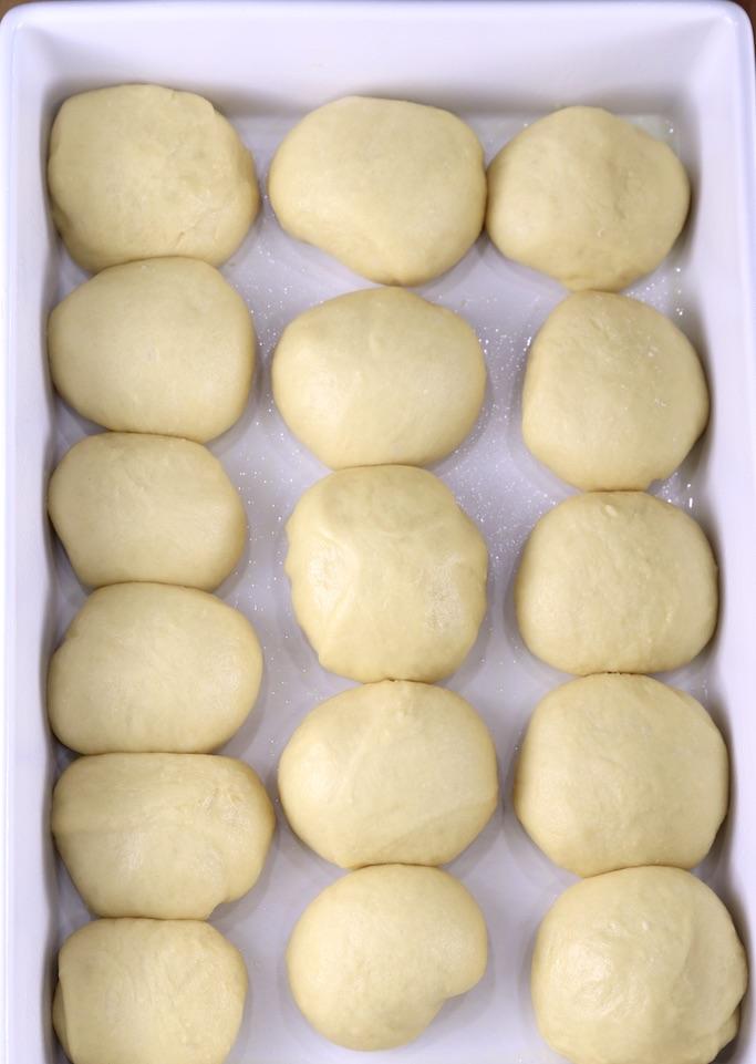 Risen dinner rolls ready to bake