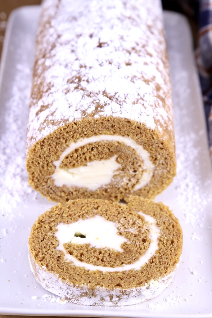Close up of pumpkin cream cheese cake roll
