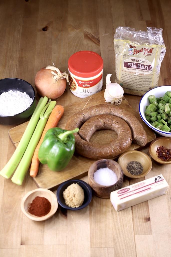 Ingredients for Smoked Sausage Barley Soup