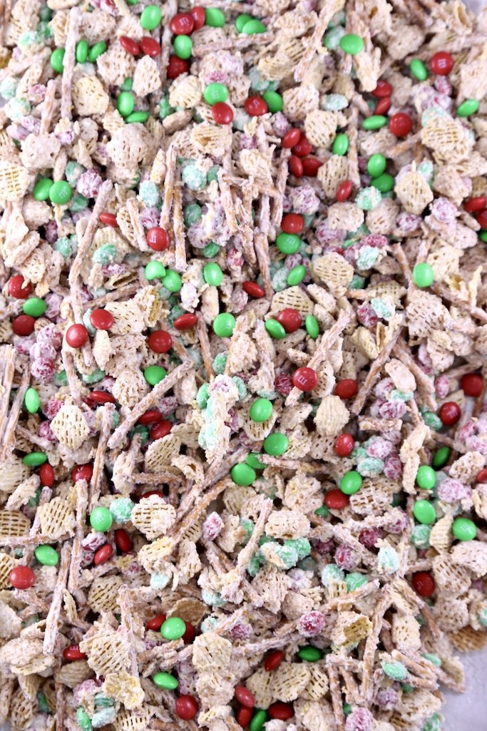 White Chocolate Trash with Christmas M&M's