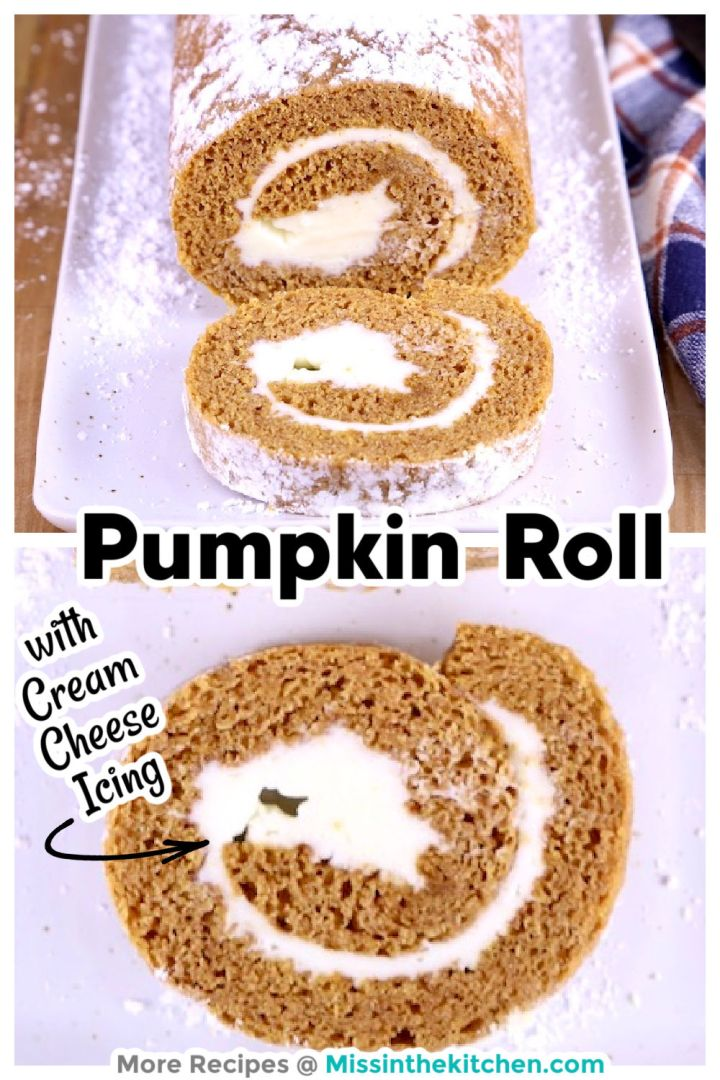 collage of pumpkin roll, whole roll and closeup of slice - text overlay