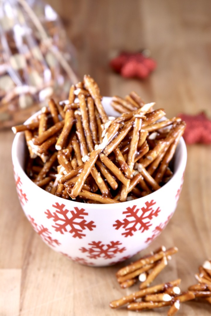Bowl of candied pretzels