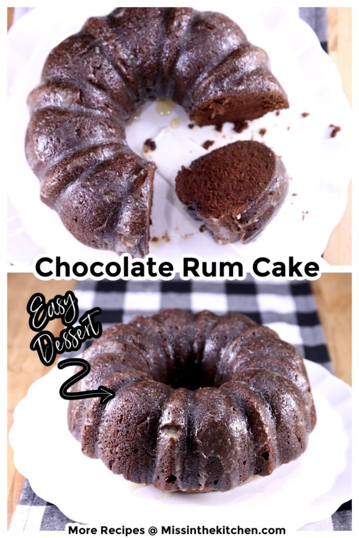 Chocolate Rum Cake collage overhead and side view, text overlay