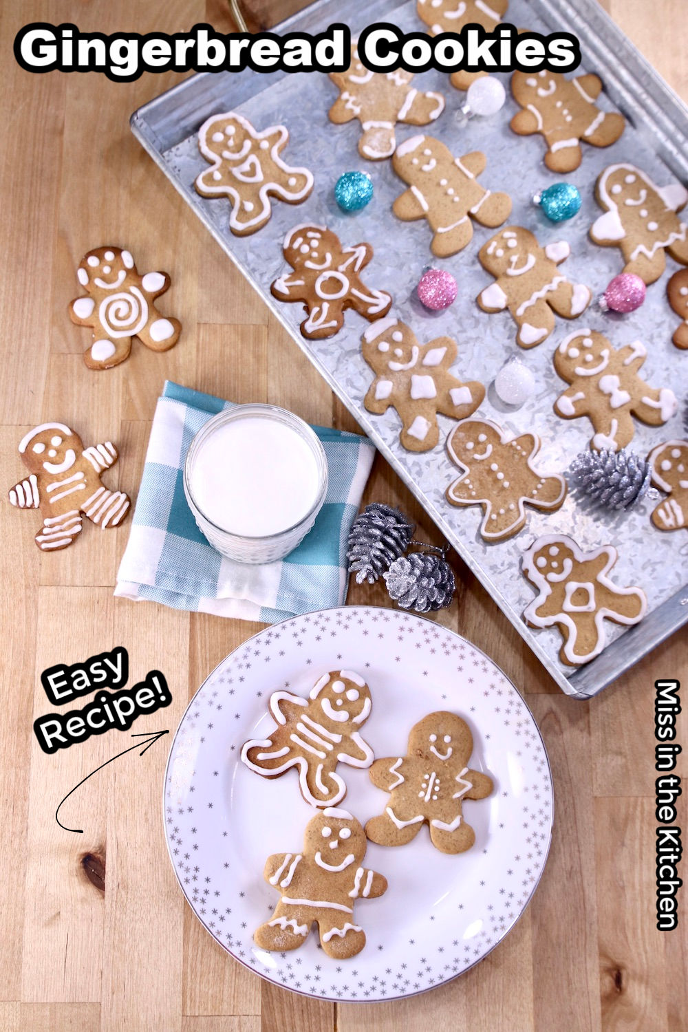 Gingerbread Cookies on a plate and on a tray with Christmas decorations, text overlay