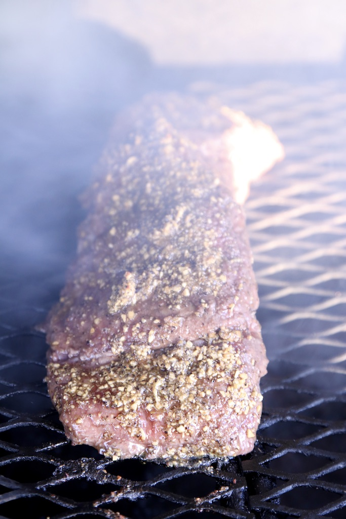 beef Tenderloin on the grill with smoke