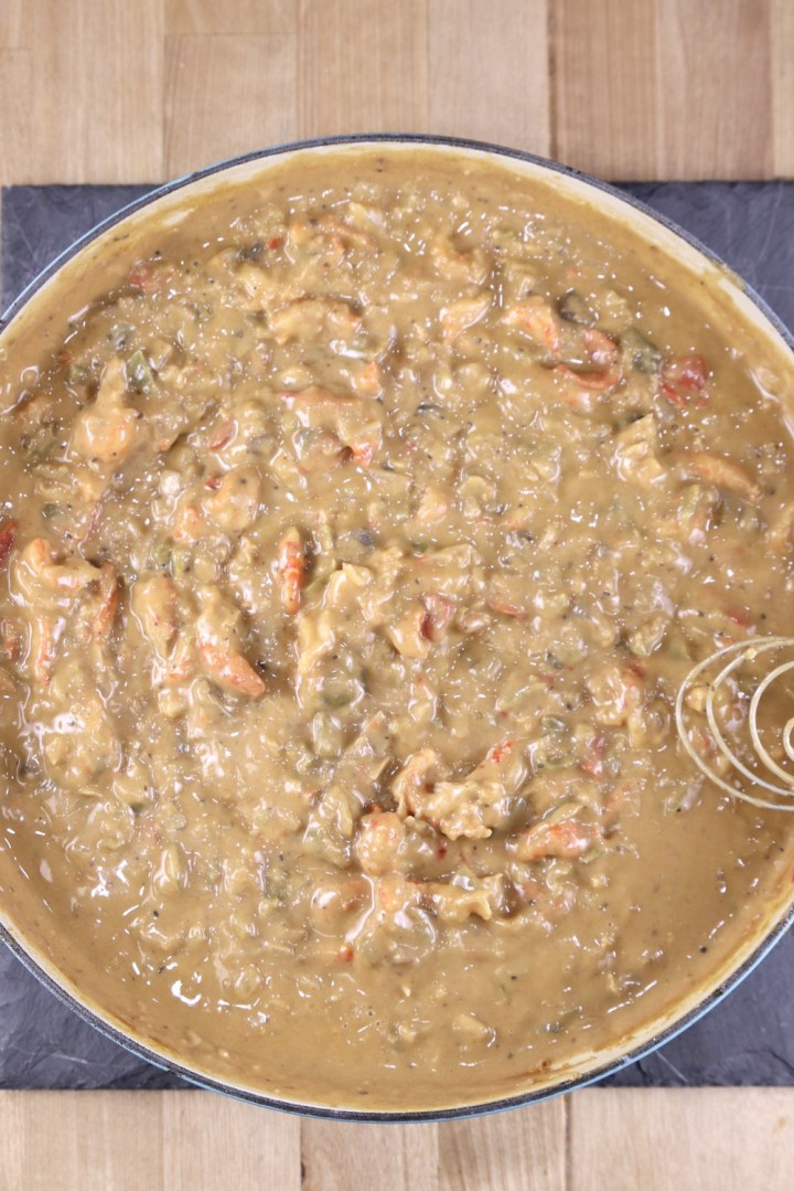 Pan of crawfish pie filling