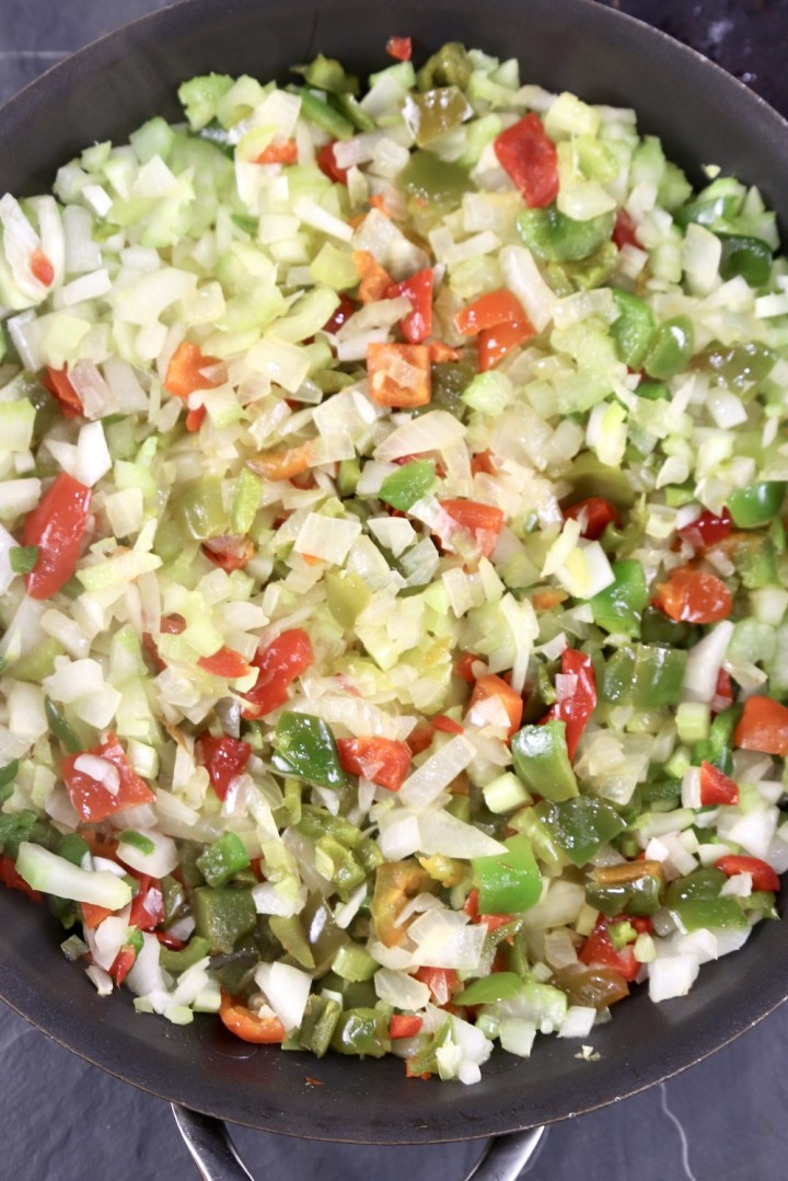 Cooked peppers, onions,celery in a skillet