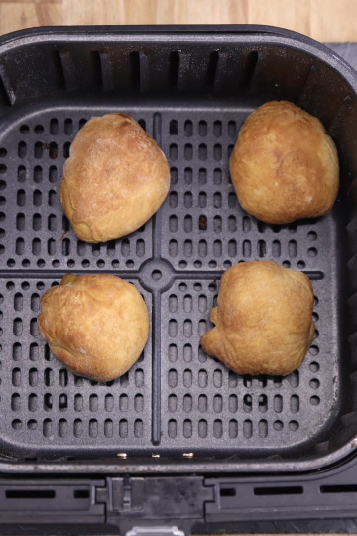 air fryer with baked peach cobbler bombs