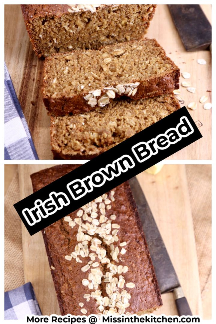 Irish Brown Bread collage - sliced over loaf in the pan photo - text overlay