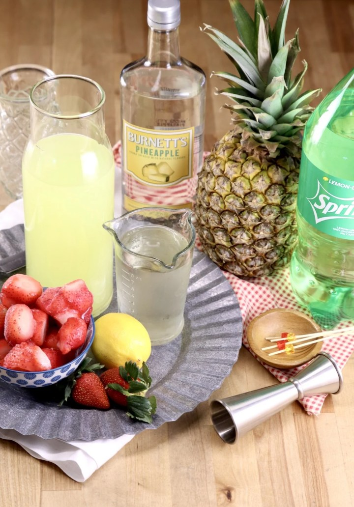 ingredients to make pineapple vodka strawberry lemonade