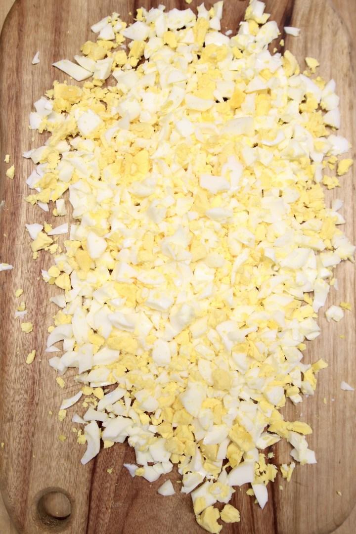 diced hard boiled eggs
