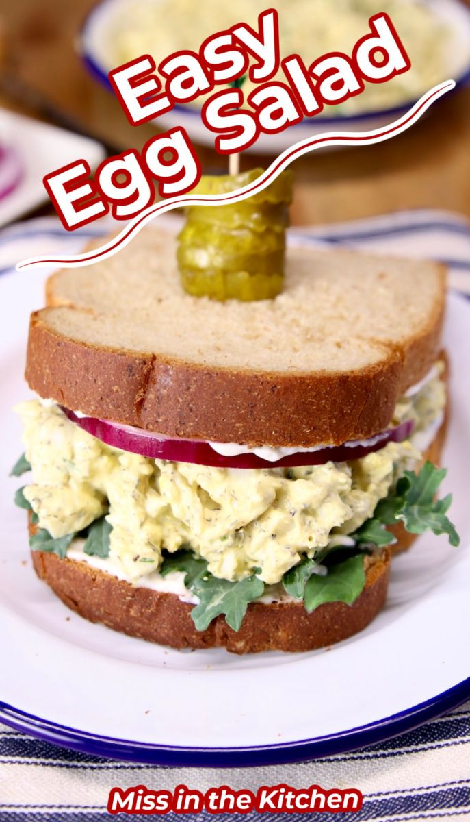 Egg Salad Sandwich with text overlay