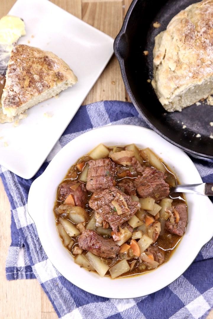 Irish beef stew with soda bread
