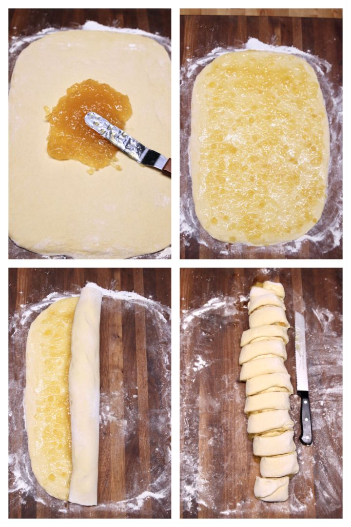 collage spreading preserves onto dough for sweet rolls. Rolling and slicing.