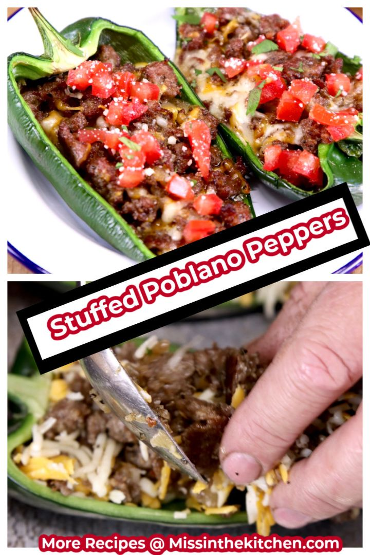 Collage of stuffed peppers plated with tomato garnish and stuffing with a spoon