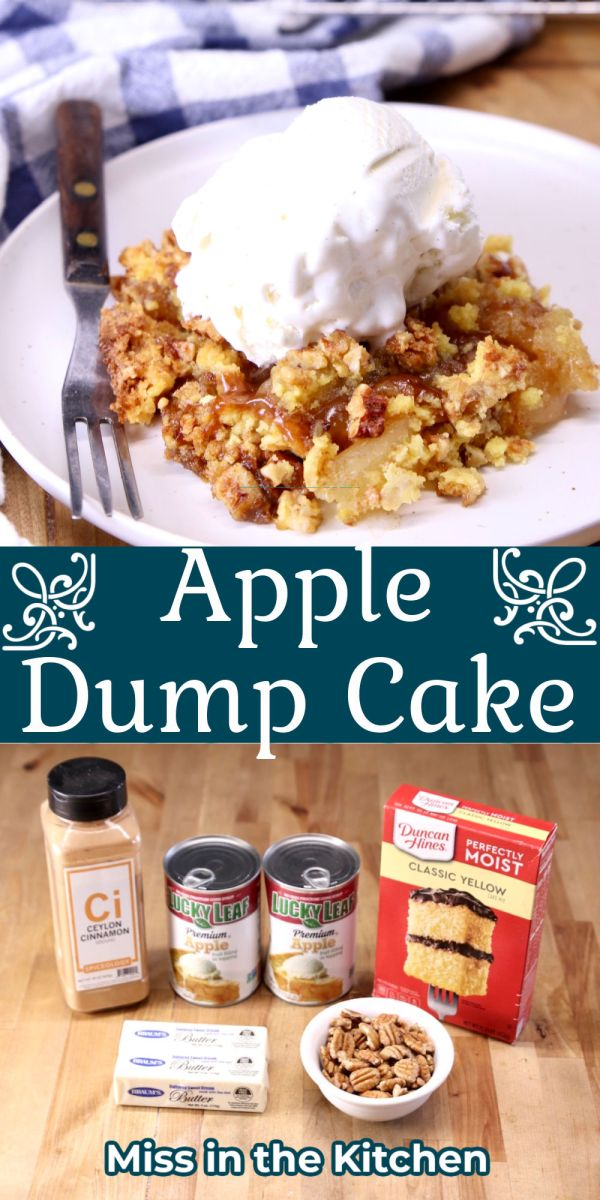 apple dump cake collage - served with ice cream over ingredients