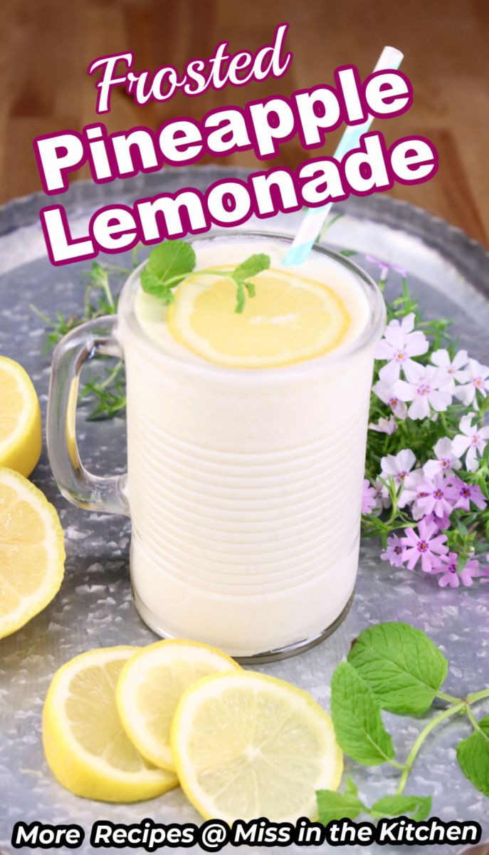 Frosted Pineapple Lemonade in a glass with text overlay
