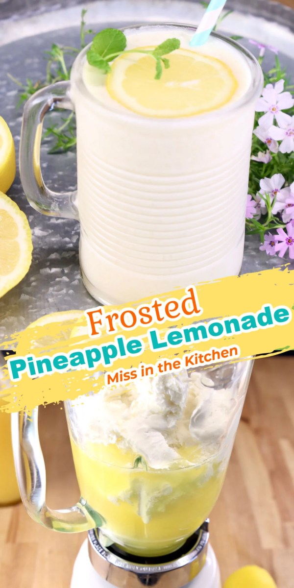 frosted pineapple lemonade collage. Served in a glass and in blender