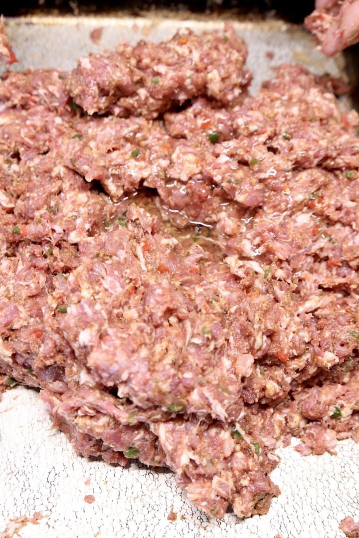 ground pork mixture on a sheet pan