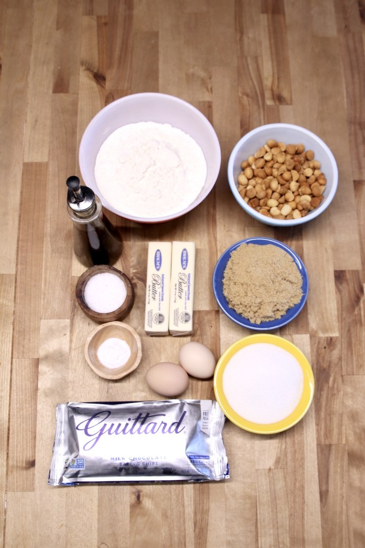 Ingredients for macadamia nut chocolate chip cookies