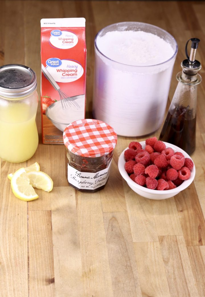 ingredients for No bake raspberry cheesecake