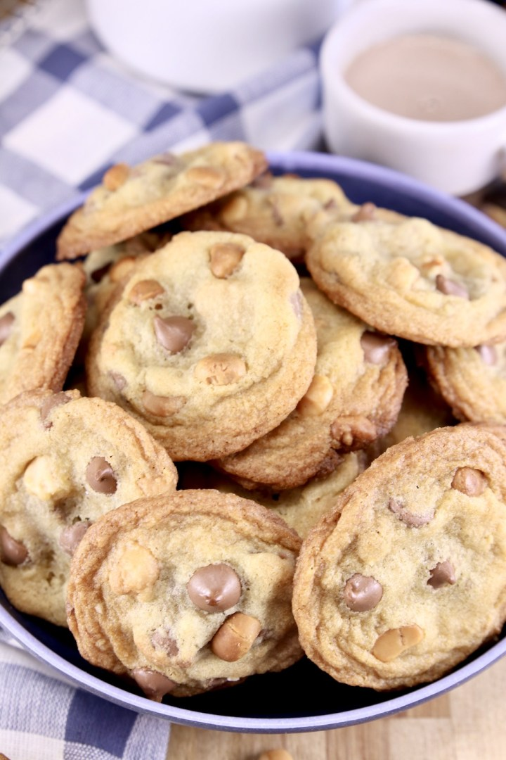 bowl of chocolate chip cookies